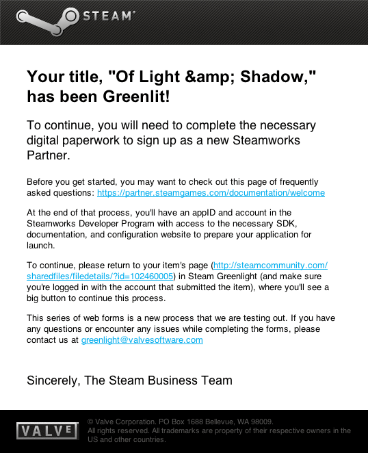 Of Light & Shadow – Greenlit